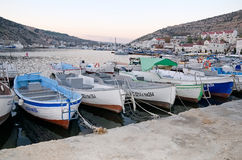 Boats at the pier in Balaclava Stock Images