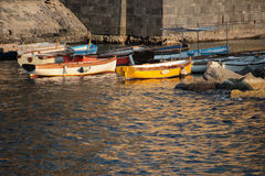 Boats at the pier of Castel dell'Ovo Stock Photography