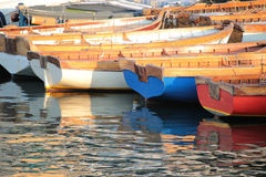 Boats at the pier of Castel dell'Ovo stock image
