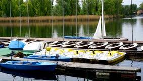 Boats Pier in Danube  River Vienna, Austria, Europe Stock Image