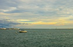 Boats and Pier in Lake Michigan Stock Images