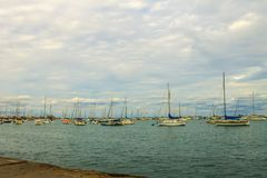 Boats and Pier in Lake Michigan Stock Image