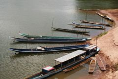 Boats pier in mae-kong Royalty Free Stock Photos