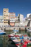 Boats at the Pier of Malpica. Tranquil early summer's afternoon at Malpica's harbor Royalty Free Stock Photos