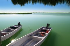 Boats in pier mangrove lagoon in Mayan Riviera Stock Image