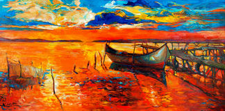 Boats and pier. Original oil painting of boats and jetty(pier) on canvas.Sunset over ocean.Modern Impressionism Stock Images