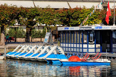 Boats at pier in Rapperswil, Switzerland. Rapperswil, Switzerland - 12 September, 2016: boats at pier on Lake Zurich. Rapperswil  is a part of the municipality Royalty Free Stock Photo