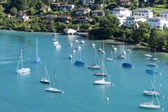 Boats at the pier of Spiez, Switzerland Stock Photos