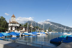Boats at the pier of Spiez, Switzerland Royalty Free Stock Image