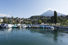 Boats at the pier of Spiez, Switzerland Stock Photo