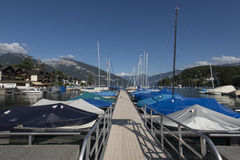 Boats at the pier of Spiez, Switzerland Royalty Free Stock Photo