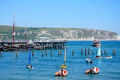 Boats and pier at Swanage. Royalty Free Stock Photos