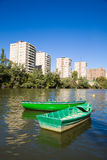 Boats in Pisuega river. Valladolid, Spain Royalty Free Stock Photos