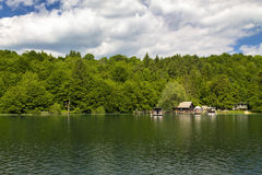 Boats on Plitvice lakes Stock Photos