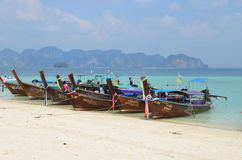 Boats at Poda island, Krabi Royalty Free Stock Images