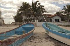 Boats on Pogreso beach in Yucatan Stock Images