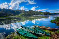 Boats on Pokhara Fewa Lake Stock Photography
