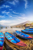 Boats in Pokhara lake Stock Photo