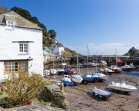 Polperro Cornwall. Boats in Polperro Harbour Cornwall England UK Royalty Free Stock Photography