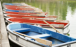 Boats in the pond. Empty city park Stock Photo