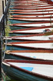 Boats on the pond. Red, blue and white color Royalty Free Stock Photography