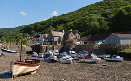 Boats Porlock Weir Somerset on the Exmoor Heritage coast England UK in summer Royalty Free Stock Photo