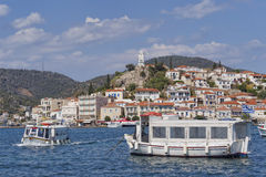 Boats and Poros island port, Greece Stock Images