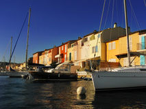 Boats in port. Yachts in Port Grimaud near Saint-Tropez (France Stock Image