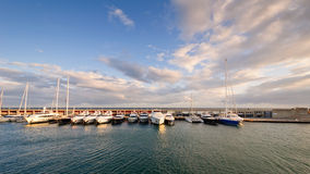 Boats at the port. Port Olimpic, Barcelona, Spain Stock Photos