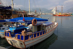 Boats in the port of Alanya, Turkey Royalty Free Stock Images