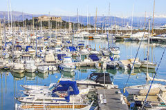 Boats in the port of Antibes Stock Images