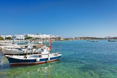 The port of Antiparos island, Greece. Boats at the port of Antiparos island, Greece royalty free stock photos