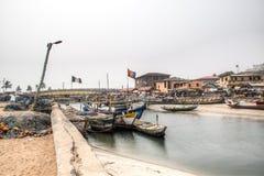 Boats in the port of Elmina, Ghana Royalty Free Stock Photography