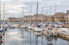 Boats in the port of historical city Saint Malo,  France Stock Image