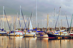Boats in the port of Holland Royalty Free Stock Photo