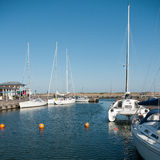Boats in the port on the island of Bornholm. Boats in the harbor on the island of Bornholm Stock Images