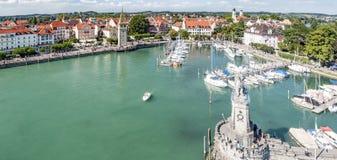 Boats at port of Lindau harbour, Lake Constance, Bavaria Stock Images
