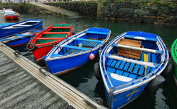 Boats in port of Luarca. Colorist boats in port of Luarca, Asturias Spain Stock Photo