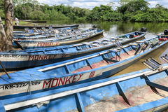 Boats in the port on Madidi River Royalty Free Stock Photos