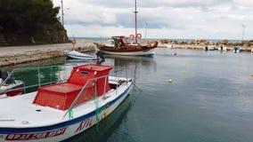 Boats in port near Tsilivi beach. View of the small private boats moored in port near Tsilivi beach in summer, Zante Island, Greece stock video