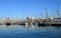 Boats at the Port Olympic at Barcelona. Spain Stock Image