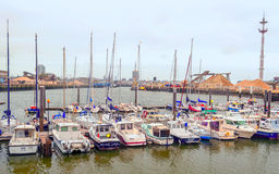 Boats in the port of Ostend Stock Images
