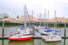 Boats in the port of Ostend Royalty Free Stock Photo