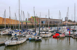 Boats in the port of Ostend Stock Image