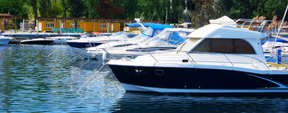 Boats in the Port Panorama Royalty Free Stock Photo