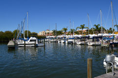 Boats in port. This is a photo of boats docked in a marina Stock Images