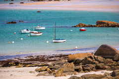 Boats in the port on the Pink Granite Coast (cote de granite rose in french). Brittany (Bretagne), France stock photography