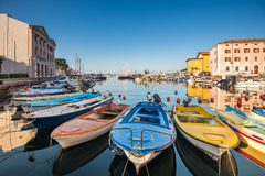 Boats in Port of Piran, Slovenia Stock Images