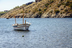 A boats  in port Portlligat Royalty Free Stock Photo