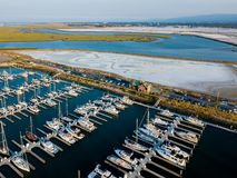 Aerial view of Redwood City port. Boats in Port of Redwood City in California Stock Image